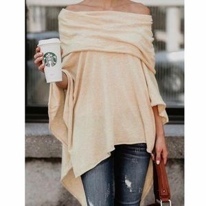 Sweaters - Poncho Tan Cowl/Off Shoulder Wrap Women's One Size
